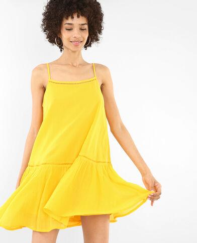 Robe volantée ajourée jaune