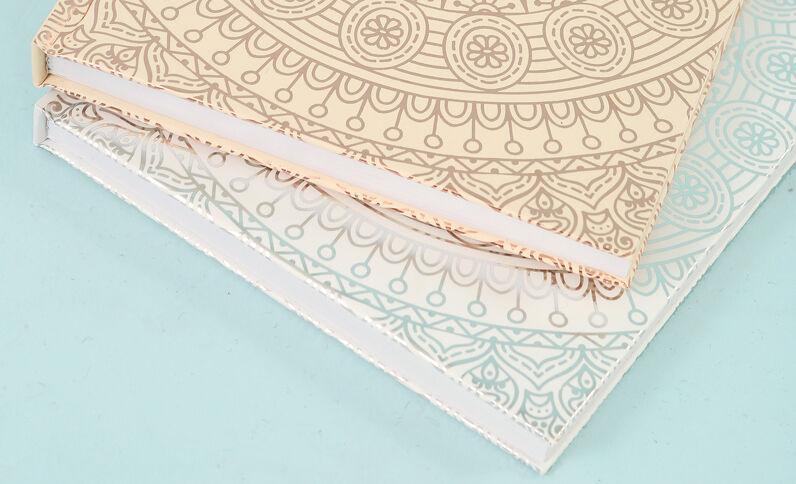 """Lot de 2 grands notebooks imprimé """"mandala"""" Gris"""