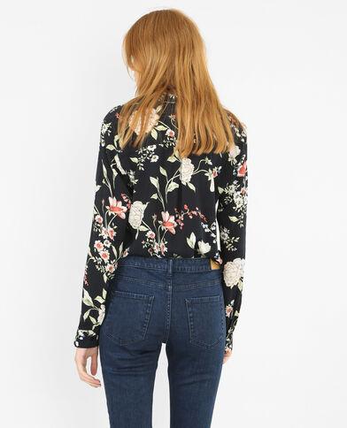 Camisa de flores negro