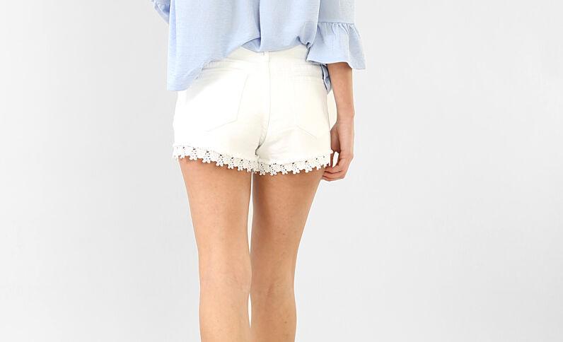 Short guipure blanc