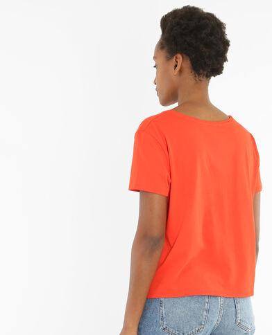 T-shirt poche perles et miroirs rouge