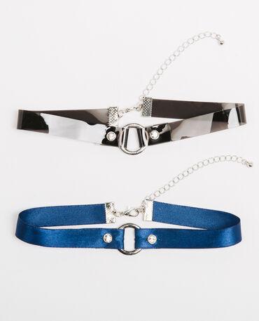 Set aus 2 Choker-Halsbändern mit Strass Silberig
