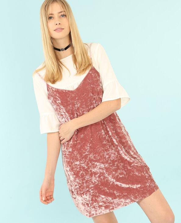 Robe velours style nuisette rose