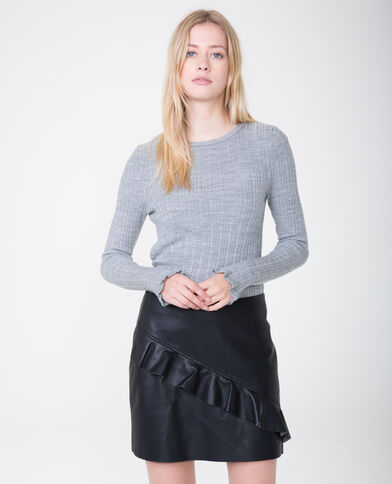 Feiner gerippter Pullover Grau