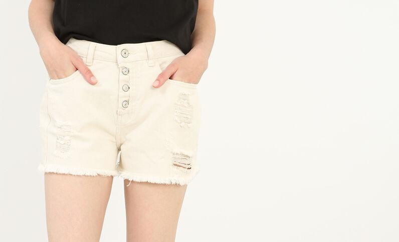 Jeansshorts mit hohem Bund Altweiß