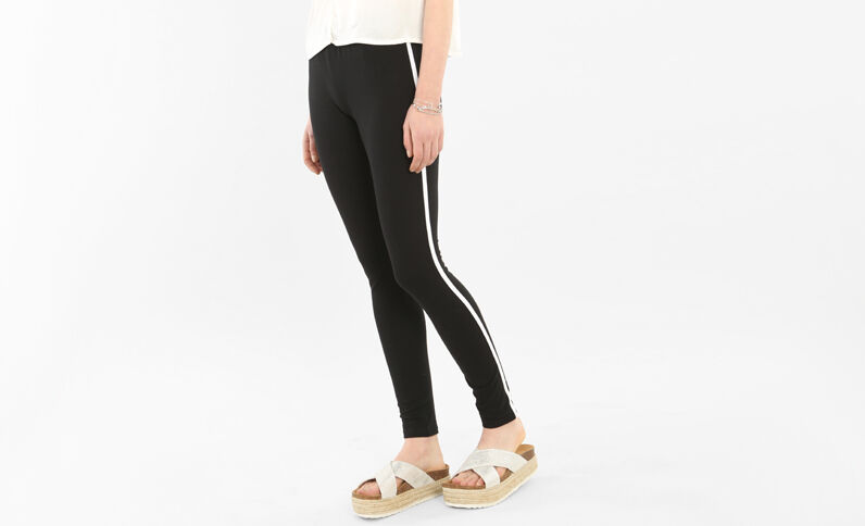 Legging sport à bande blanche noir