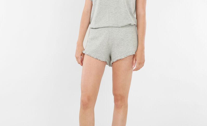 Short homewear con volante gris jaspeado