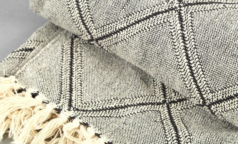Groot deken met ruitjes zwart