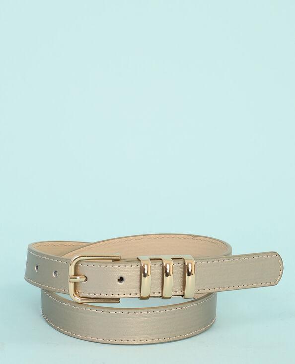 Cinturón metalizado gris brillante