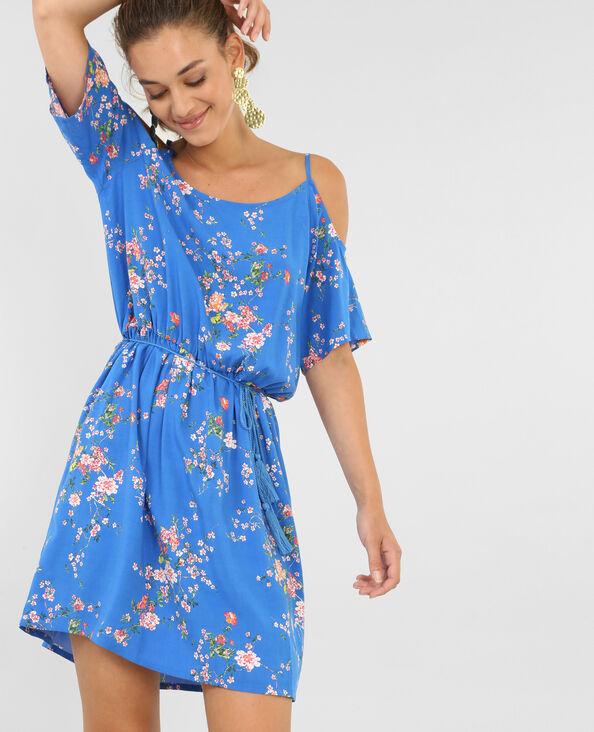 Soepele jurk met peekaboo mouwen blauw