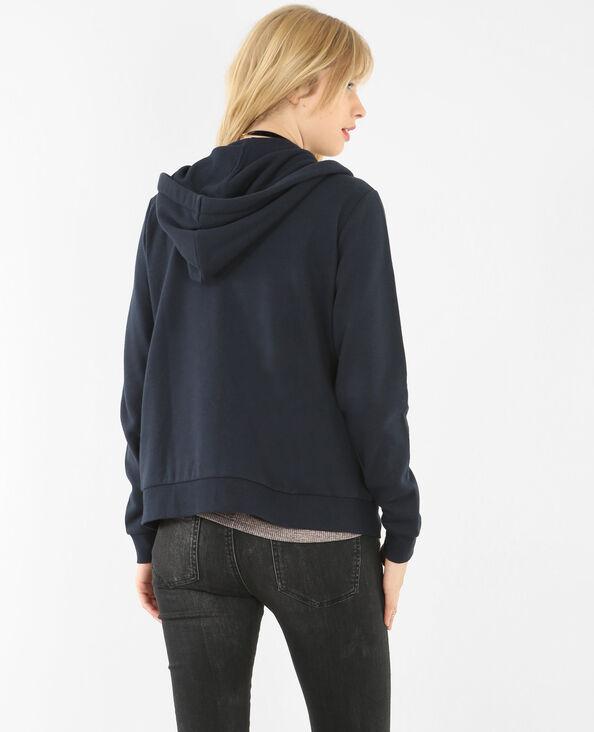 Sweatshirt mit Reißverschluss und Kapuze Marineblau