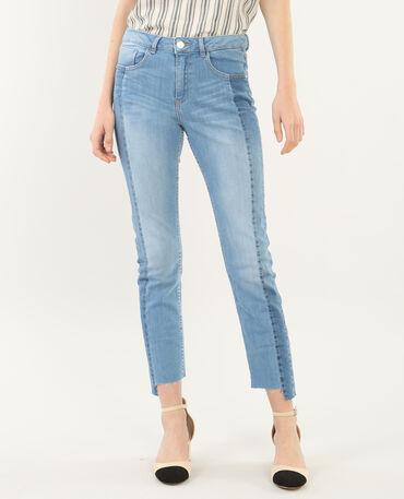 Jeans skinny 7/8 bicolore blu