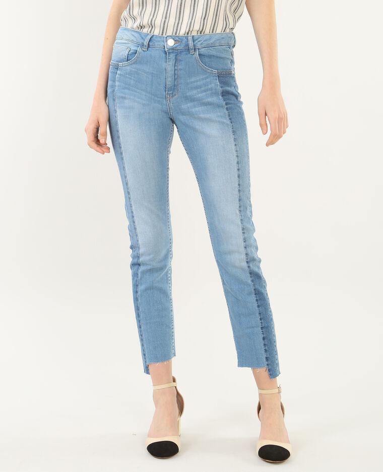 Jean skinny 7/8 bicolore bleu