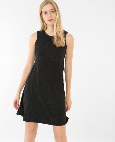 Skater-Kleid mit Lurex Schwarz