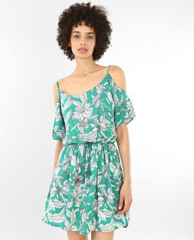 Soepele jurk met peekaboomouwen groen