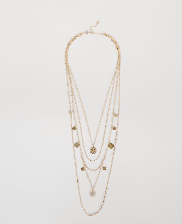 Mehrreihige lange Halskette Gold