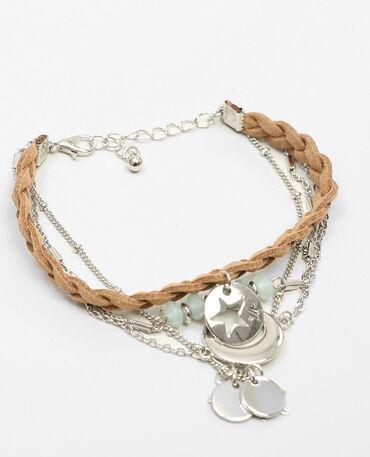 Armband met verschillende kettingen zilvergrijs