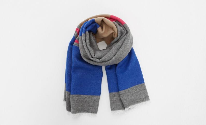 Echarpe à bandes colorées bleu