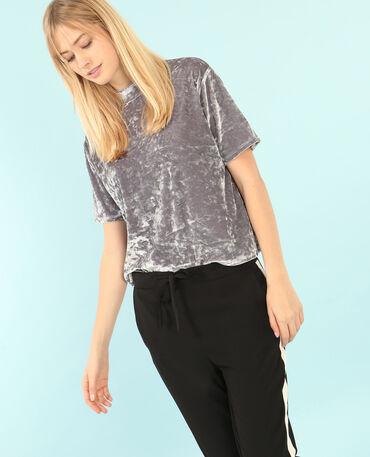 Camiseta de terciopelo con hombros descubiertos gris perla