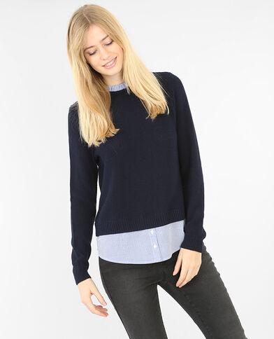Pullover im Schichten-Look Marineblau