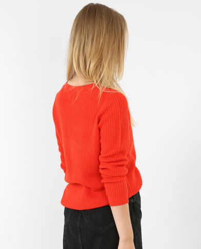Abgerundeter Pullover Rot