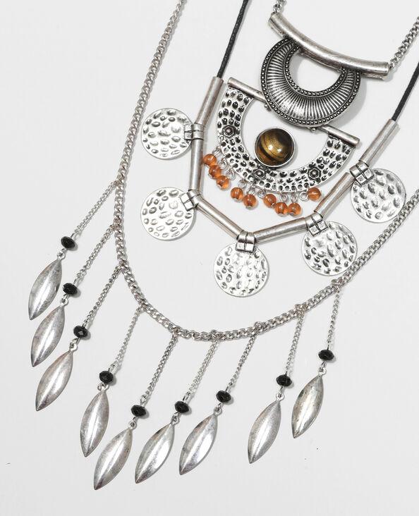 Mehrreihige Halskette Silberig