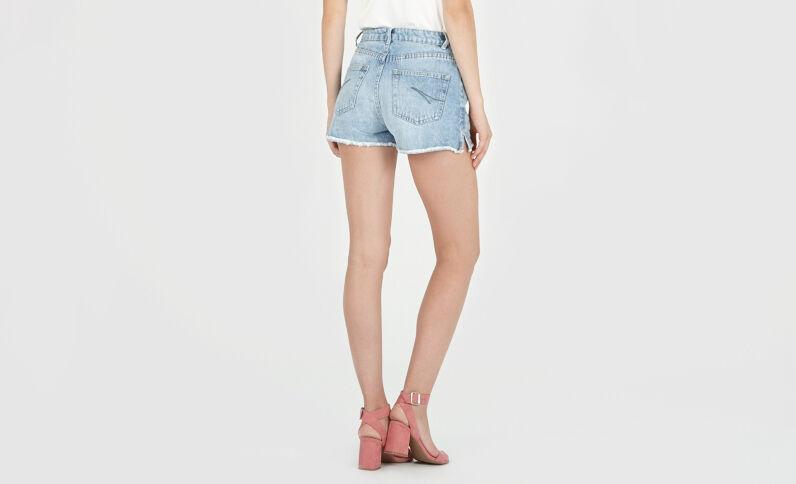 Shorts vaqueros de talle alto azul vaquero
