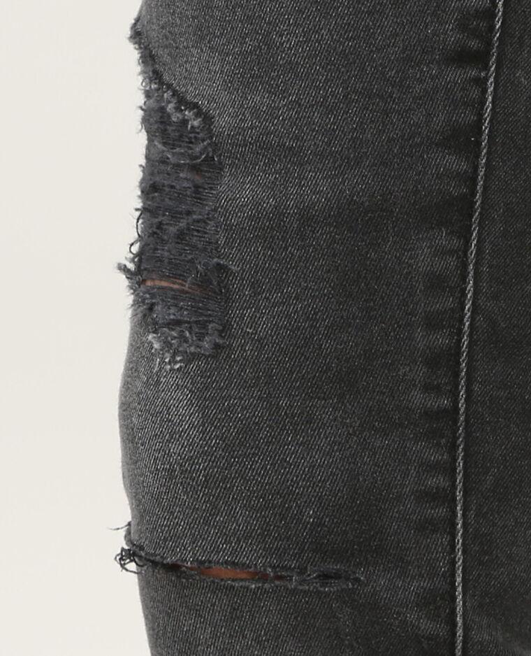 Skinny cut zippé gris délavé