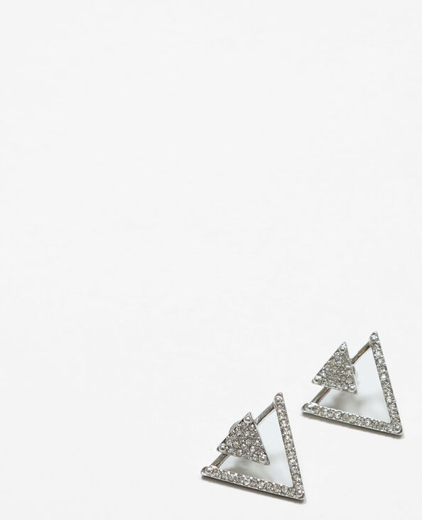 Boucles d'oreilles triangles gris argenté