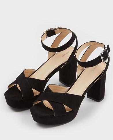 Sandalen mit durchgehenden Plateauabsätzen Schwarz