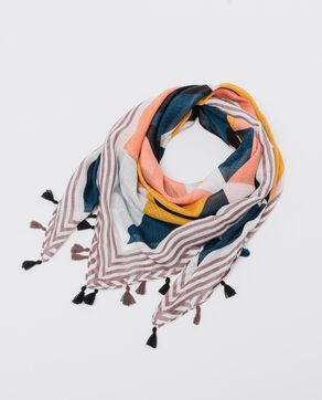 Foulard imprimé à pompons noir