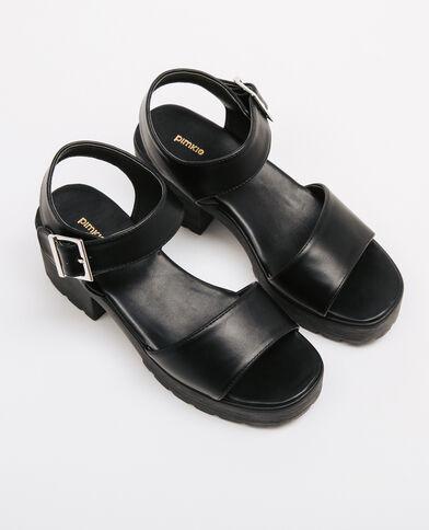 Sandalias suela dentada negro