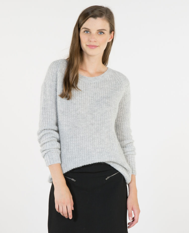 Pull mohair gris chiné