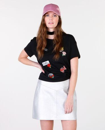 T-Shirt mit Patches Schwarz