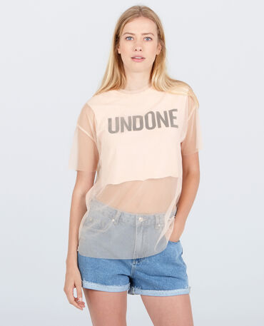Cropped top 2 en 1 en tulle rose pâle