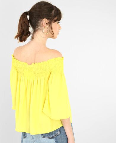 Blouse courte à col bardot jaune