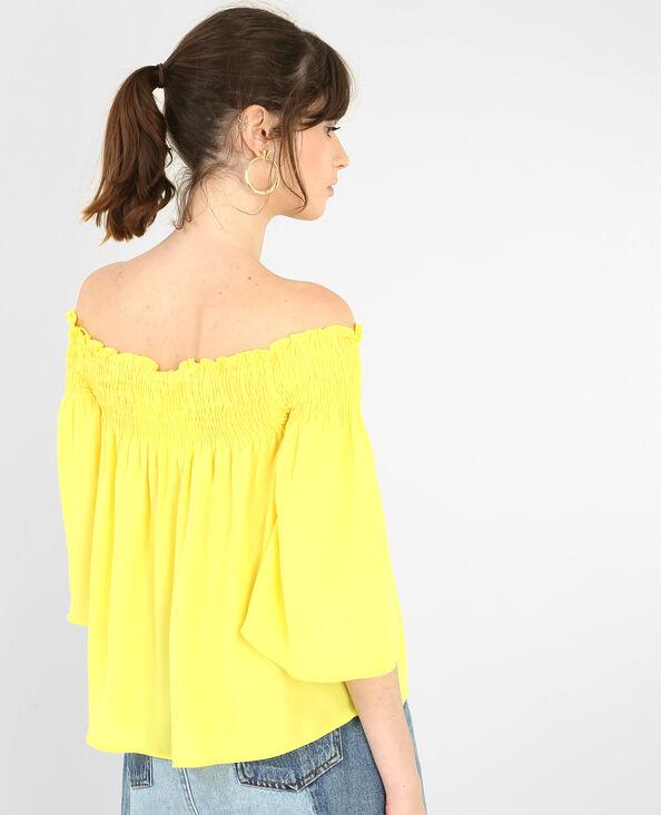Korte blouse met bardothals geel