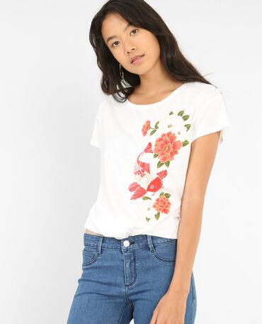 Bedrukt T-shirt met strik wit