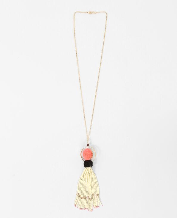 Lange Halskette mit Troddeln Gelb