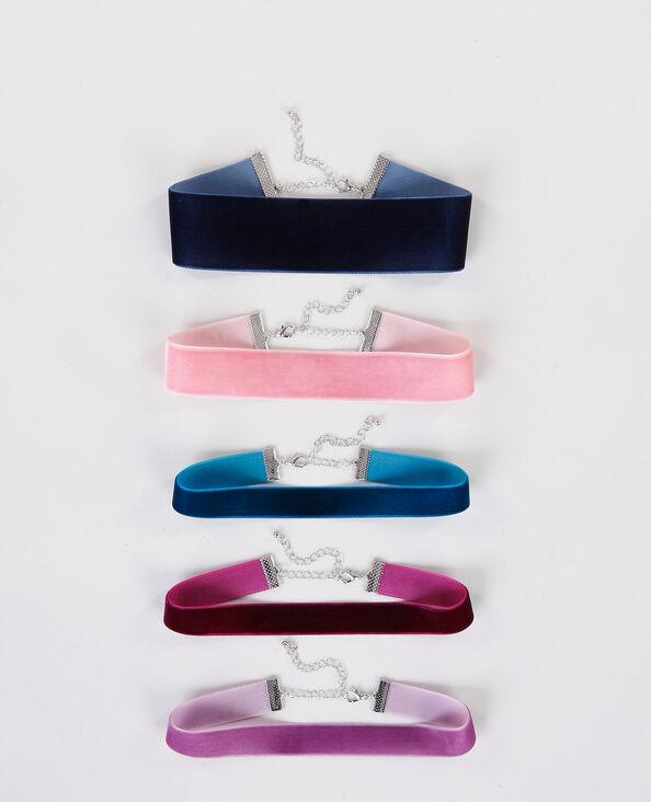 Set aus Choker-Halsbändern aus Samt Rosa