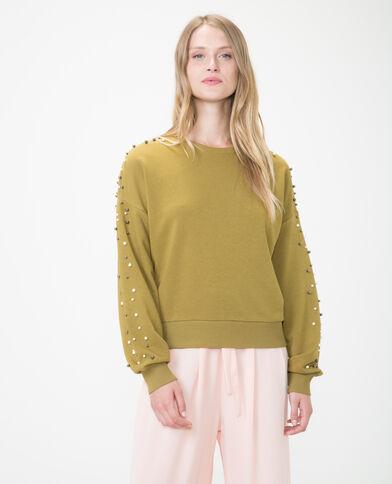 Sweatshirt mit Perlen Khaki