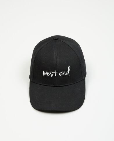 Gorra con texto bordado negro