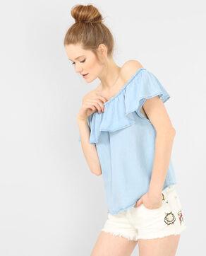 Schulterfreies Top aus Denim Blau
