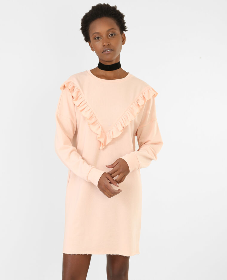 Robe sweat à volants rose