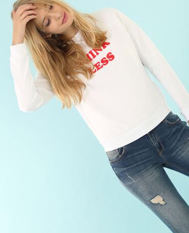 Sweatshirt mit Schriftzug Altweiß