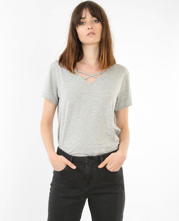 T-shirt col croisé gris chiné