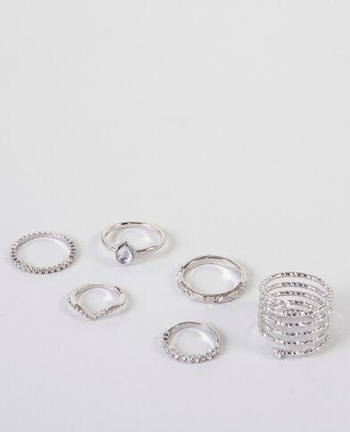 Lotto di anelli grigio paillettato