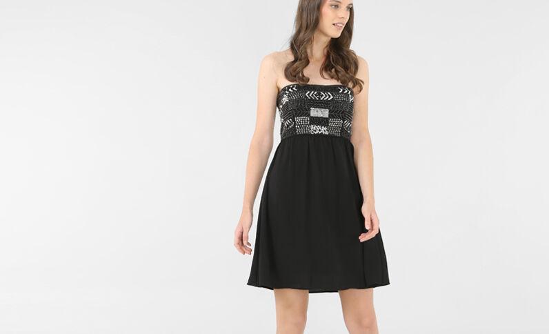 Korsagenkleid mit Pailletten Schwarz