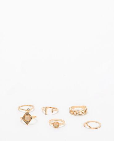 Lot de 6 bagues dorées doré