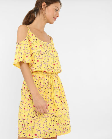 Vestido vaporoso mangas cut out amarillo